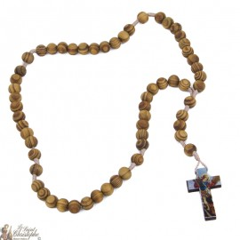 Rosary of Saint Christopher in natural olive wood