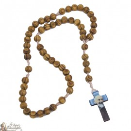 Rosary Saint Michel in natural olive wood