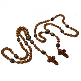 Olive wood rosary Soufanieh and icon
