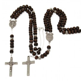 Black rosary wooden beads necklace