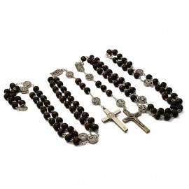 Religious Rosary Blue black faceted beads