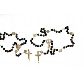 Rosary Saint Benoit black wood with carabiner
