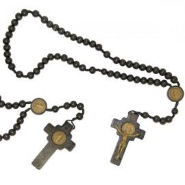 Rosary Saint Benedict black wood
