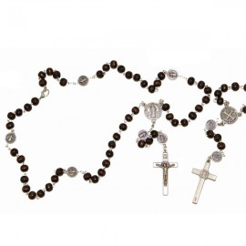 Rosary of Saint Benedict brown with carabiner