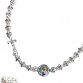 Necklace strass beads cross with the Virgin of Banneux N.D.