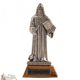 Holy Benedict statue on wooden base
