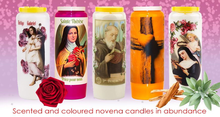 Scented and coloured novena candles in abundance
