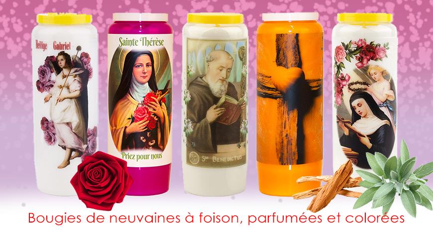 Bougies de neuvaines à foison, parfumées et colorées